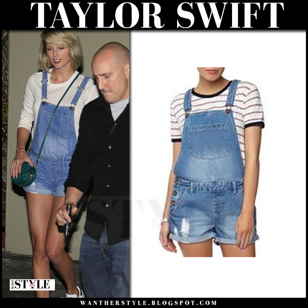 Taylor Swift in denim short cotton on shortall overalls and white sneakers what she wore