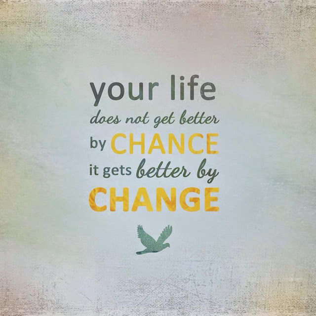 """Your life doesn't get better by chance, it gets better by change"" quote text with bird image"