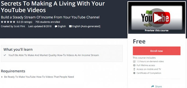 [100% Free] Secrets To Making A Living With Your YouTube Videos
