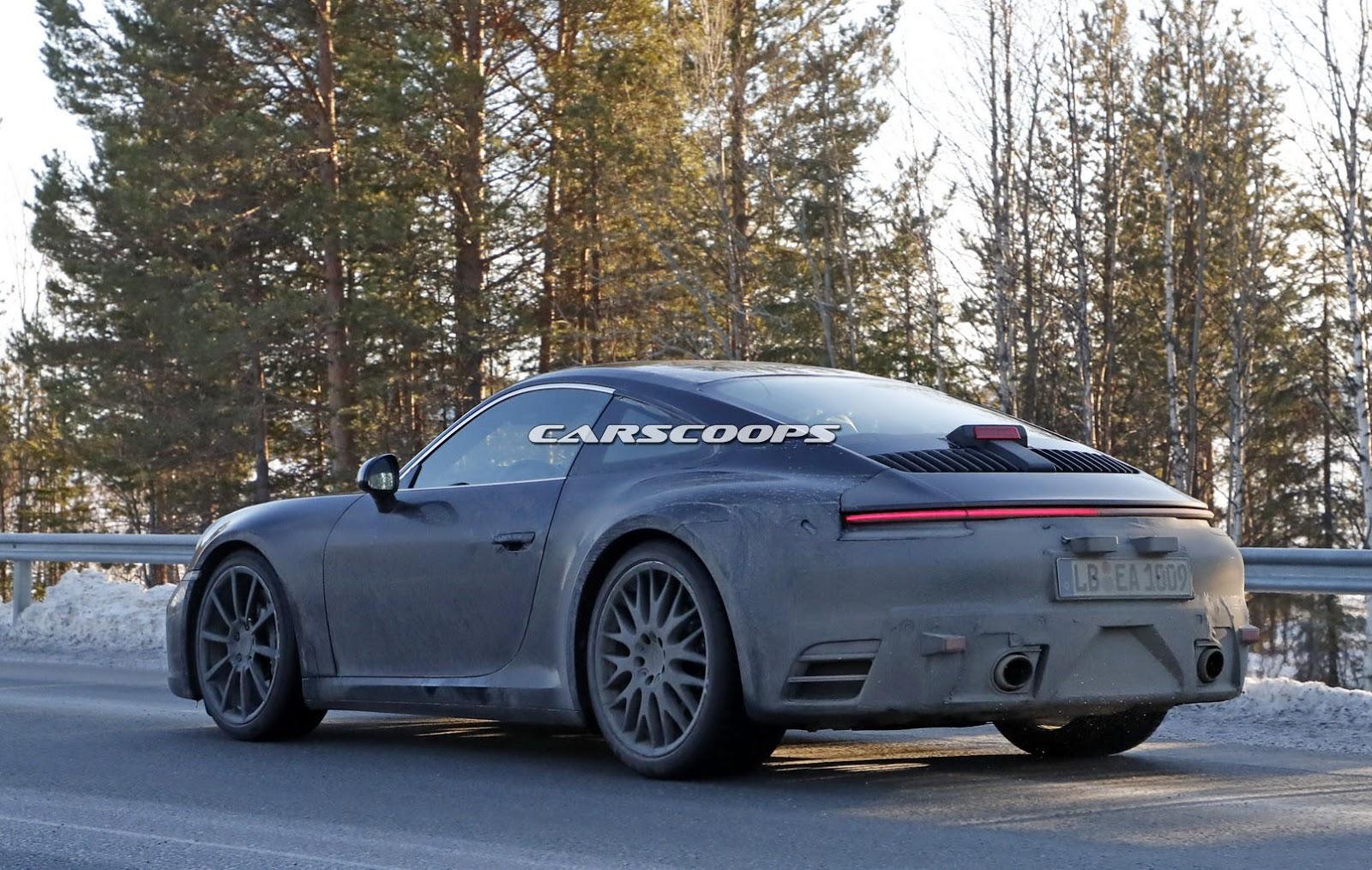 2019 Porsche 911 Turbo S >> 2019 Porsche 911 Spy Shots Highlight Its Mission E-Inspired Bottom