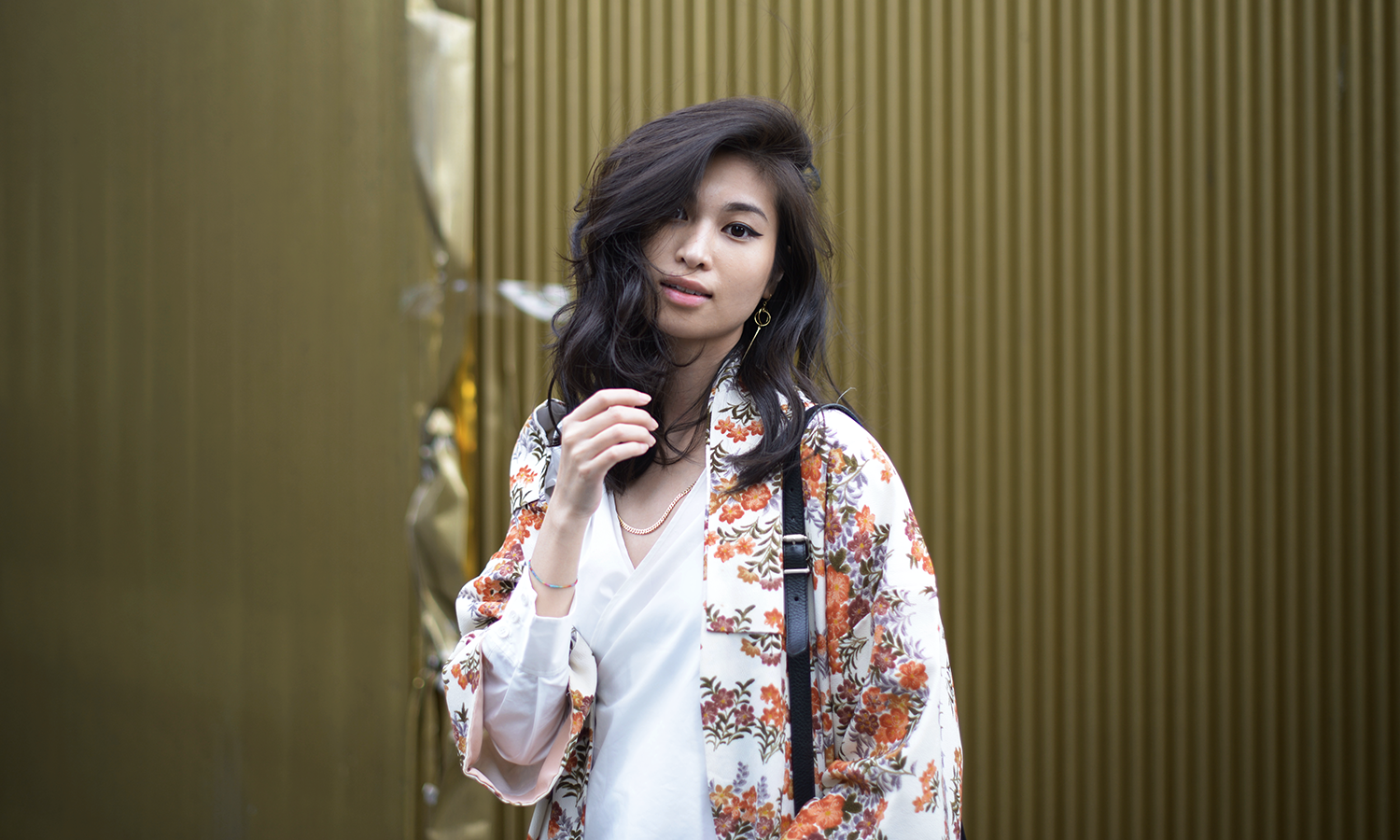 Orange Floral Kimono Gold Jewelry - Thing To Wear / FOREVERVANNY.com