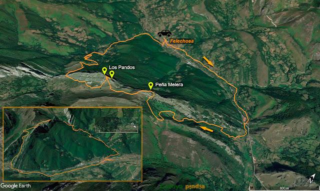 Mapa de la ruta señalizado a Peña Melera y Los Pandos