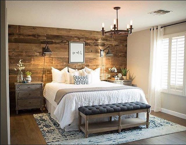 Kleine-schlafzimmer-rustikale-Design-mit-holz-wandverkleidung