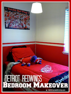 Detroit Redwings hockey bedroom makeover