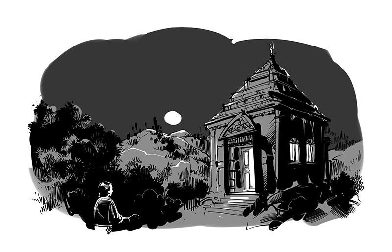 old temple black white illustration for tagbag