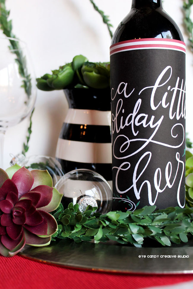 christmas bottle wrap, hostess gift idea, holiday cocktail party, wine bottle
