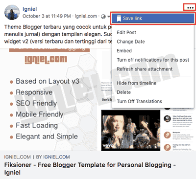 Cara Membuat Tombol Save ke Facebook di Blog