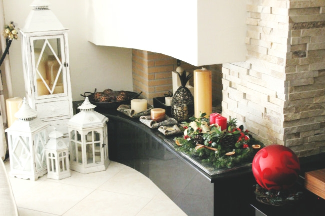 Christmas home decoration, fireplace Christmas decoration