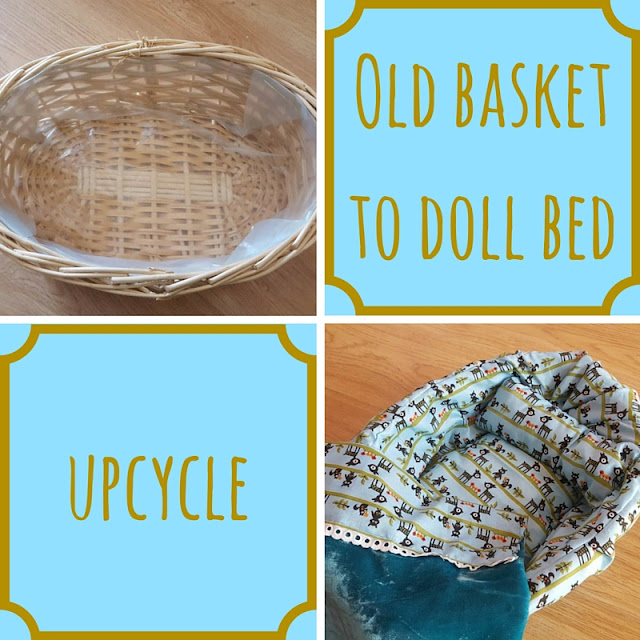 Old basket to doll bed upcycle