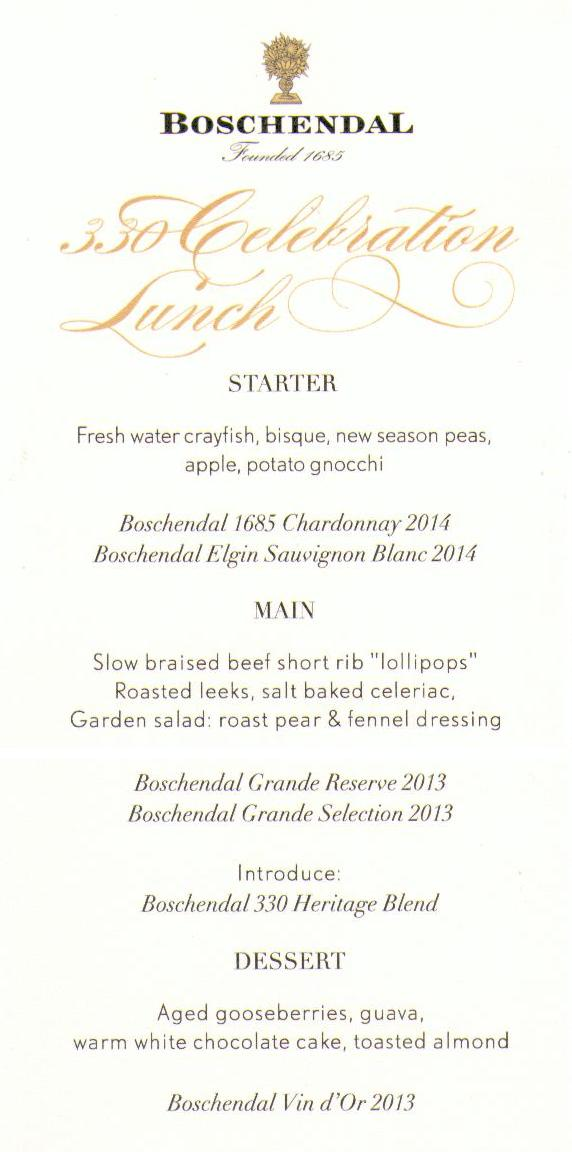 Boschendal%2Bmenu A Vintage day at the 330th Anniversary of Boschendal