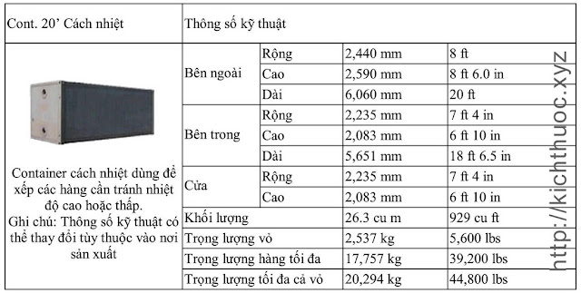 kich thuoc container cach nhiet 20 feet