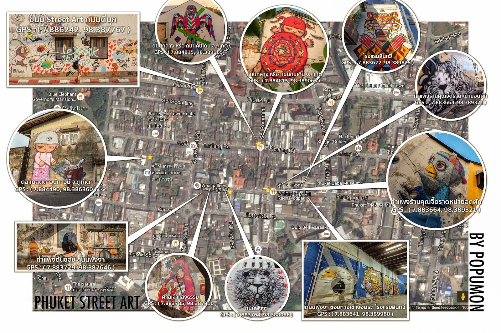 Things to do phuket town and street art this is a brilliant map of where the street art in phuket can be found gumiabroncs Image collections
