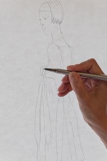 Boceto a lápiz ella