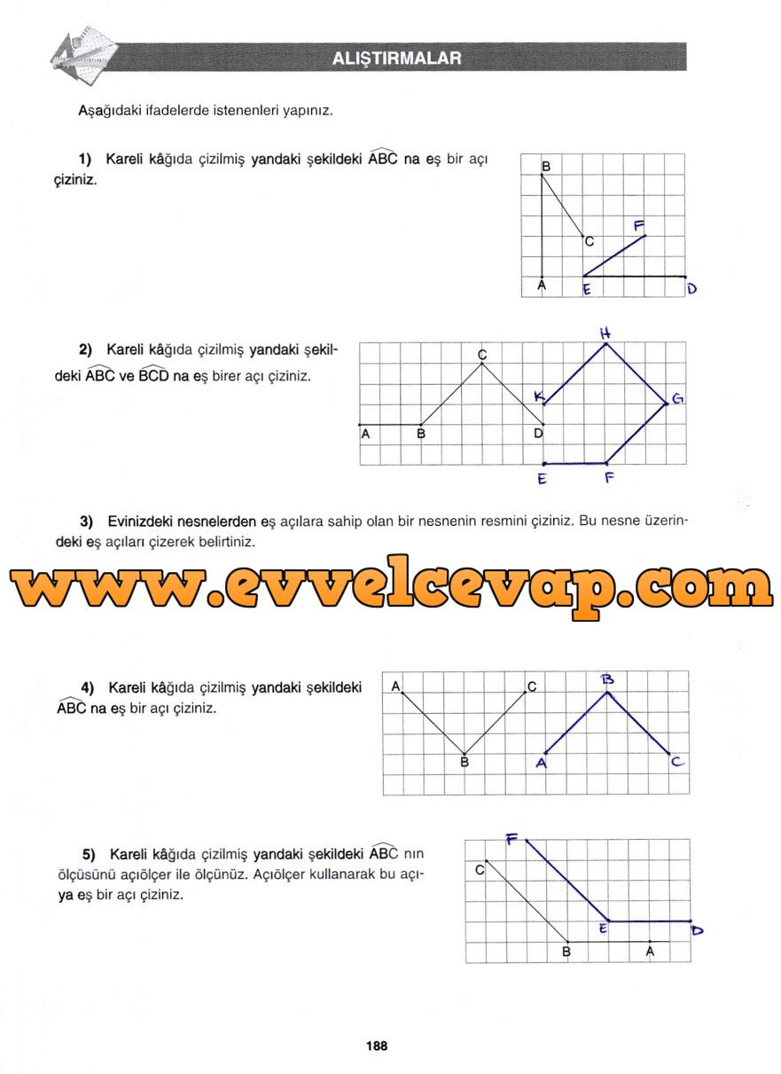 7. Sınıf Gizem Yayınları Matematik Ders Kitabı 188. Sayfa Cevapları Doğrular ve Açılar