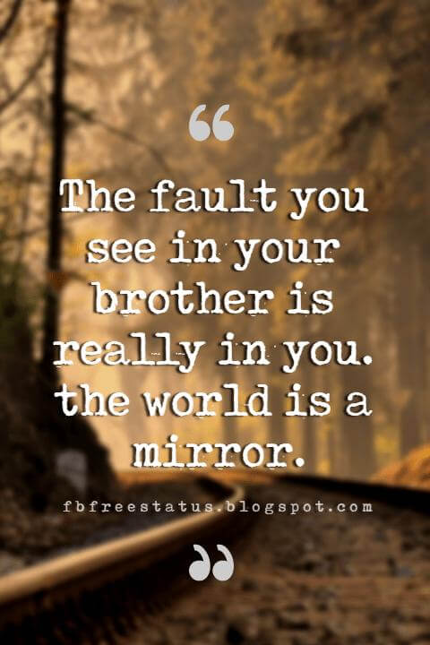 Quotes About Brother, The fault you see in your brother is really in you. the world is a mirror.