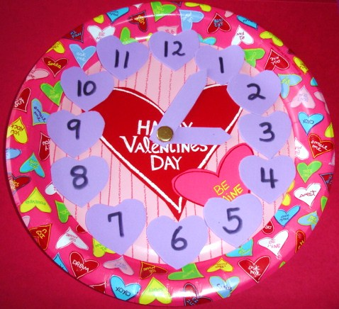 Learning Ideas Grades K 8 Valentine S Day Paper Plate Clock Craft