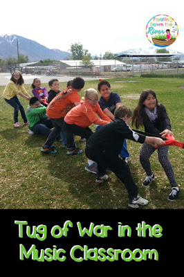Linda's students first partake in a music activity to determine teams. They then play tug of war, where they have fun while learning about working together.