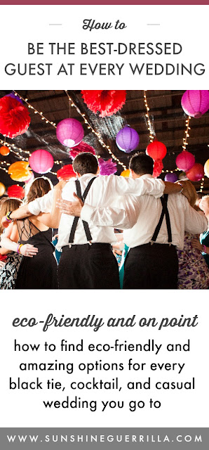 eco-friendly wedding guests dancing
