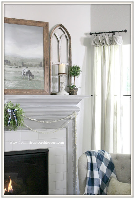 French Country Farmhouse Fireplace-Buffalo Check Blanket-French Farmhouse-Button Garland-Arched Window-From My Front Porch To Yours