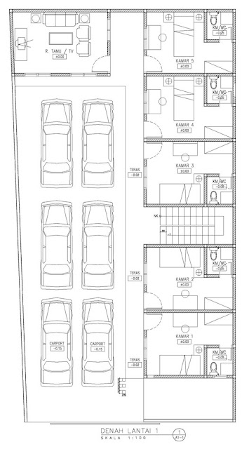 kos kosan 5 kamar dengan parkiran yang cukup luas
