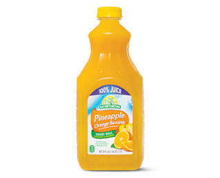 A stock image of Nature's Nectar Orange Pineapple Banana 100% Juice
