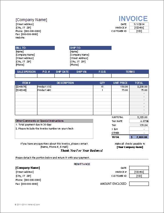 Service Invoice Template (Format) in Word, Excel, PDF