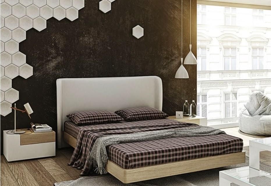 Habitación con cabecero tapizado blanco