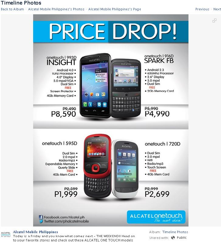 Alcatel One Touch 993D, 916D, 595D and 720D Price Drop by Alcatel Mobile Philippines