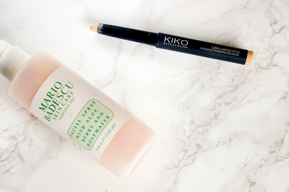 mario badescu facial spray, kiko long lasting shadow stick in 28