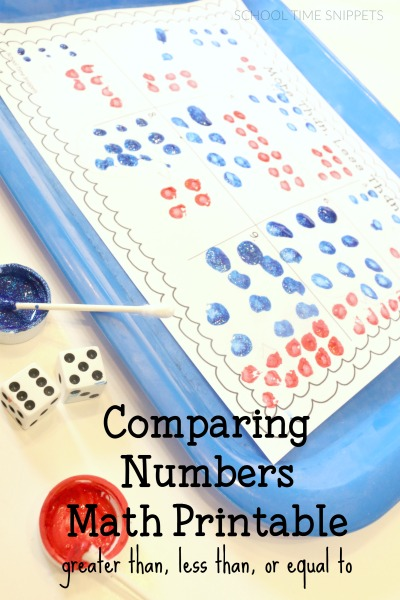 comparing numbers math printable