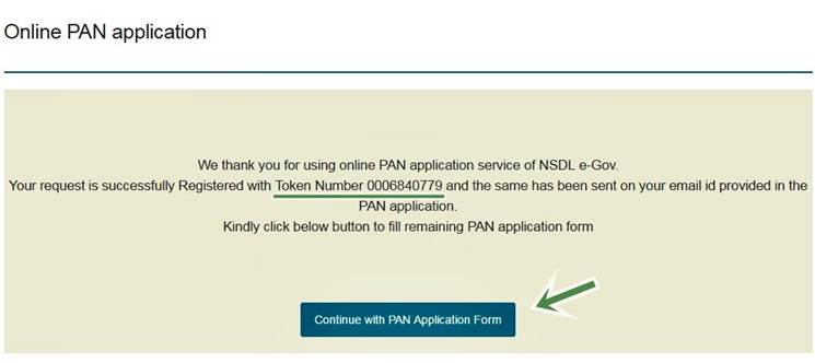 new pan card apply token number