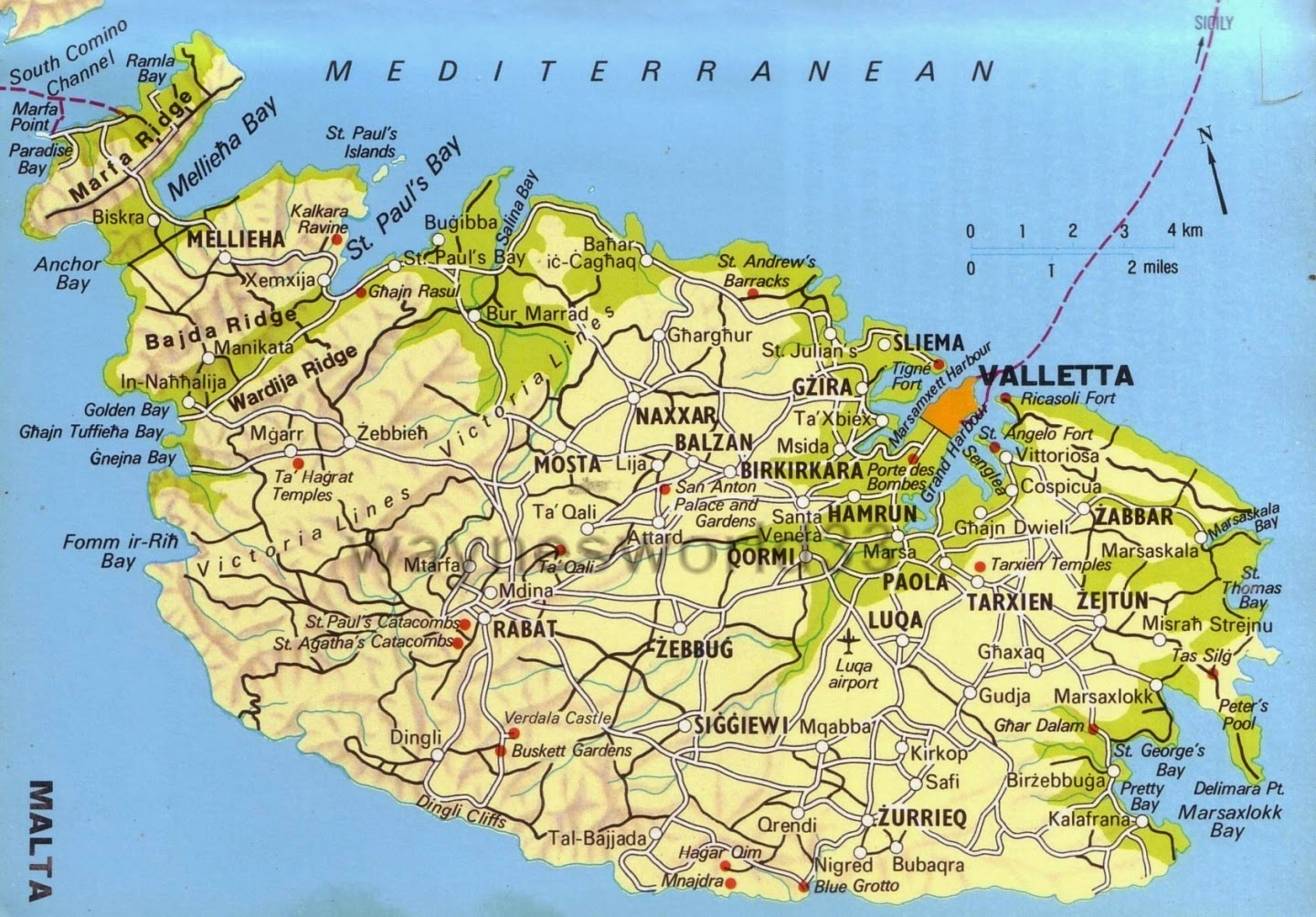 Map of Malta 10 Most Beautiful Island Countries in the World