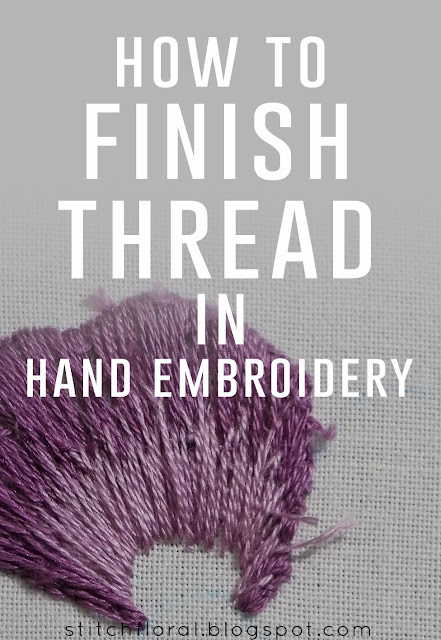 How to finish thread in hand embroidery