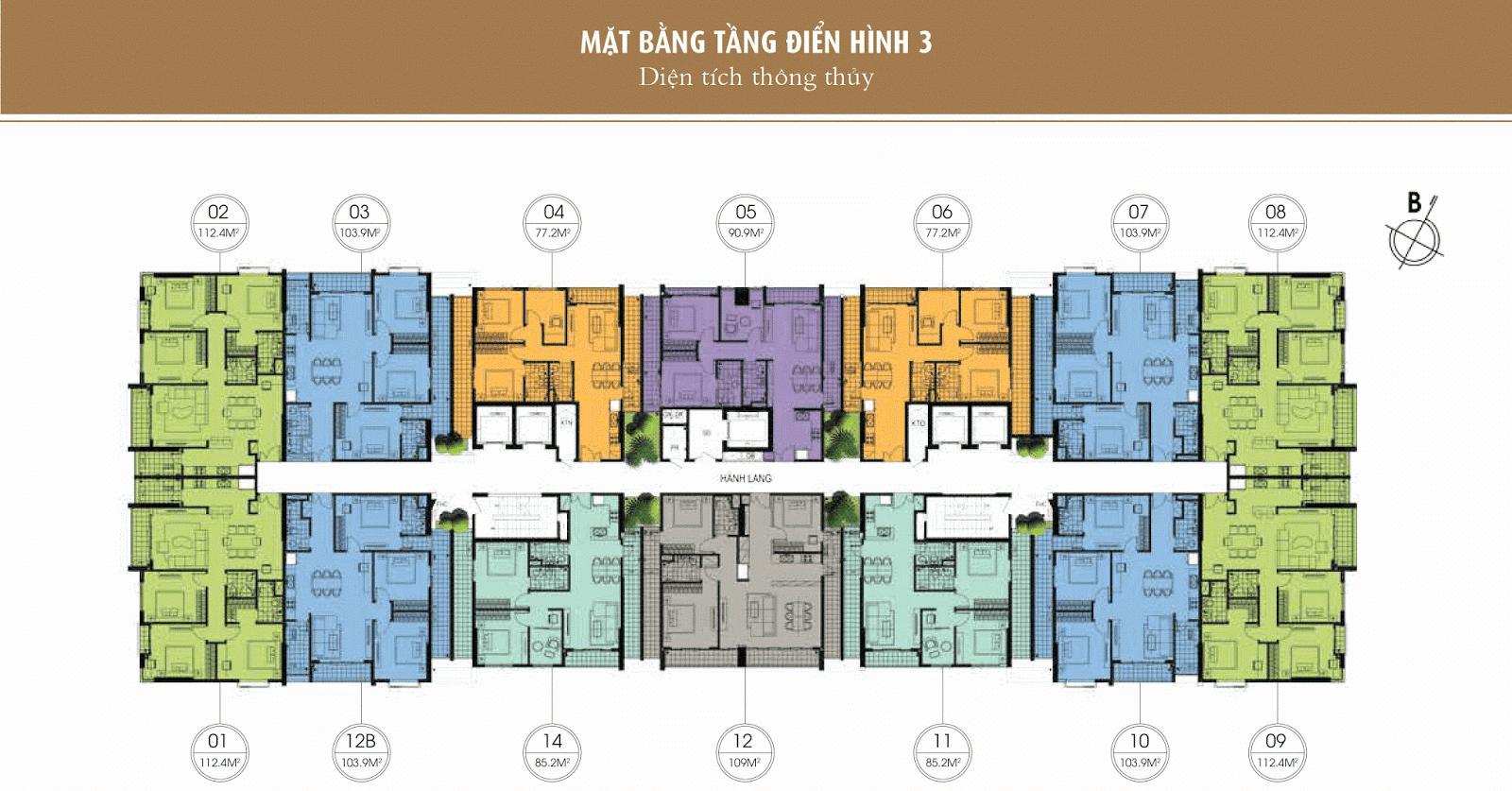 Mặt bằng điển hình tầng 3 - Chung cư One 18 Long Biên