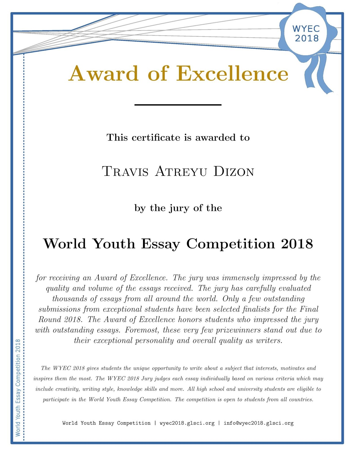 Hello. I am Tracy Dizon.: World Youth Essay Competition 25