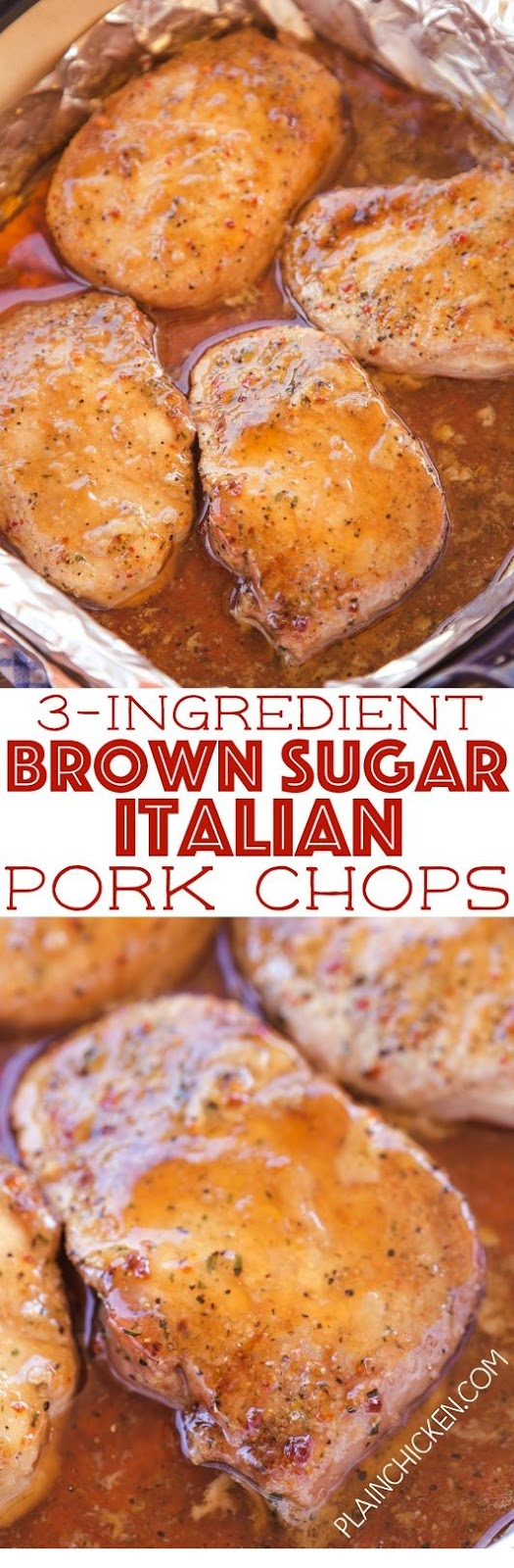 3-Ingredient Brown Sugar Italian Pork Chops