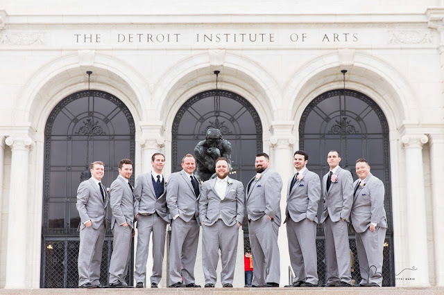groomsmen in front of detroit institute of arts