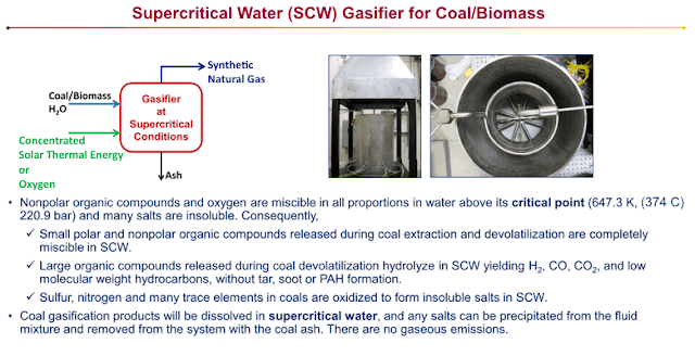 Supercritical Water (SCW) gasification of coal and wet biomass