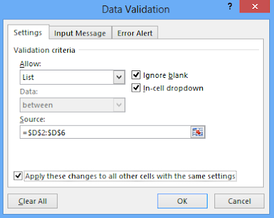 Data validation dialogue box