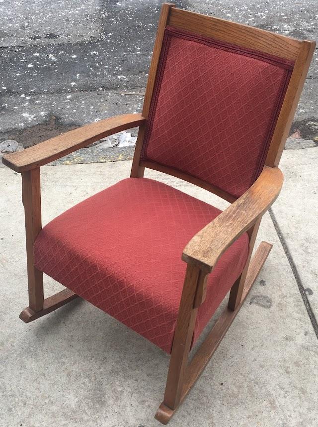 Upholstered Oak Rocker - $65