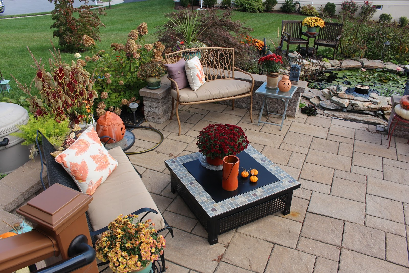 Designs By Pinky Fall On The Patio And Around The Pond