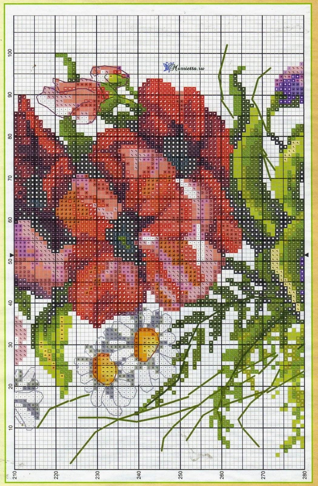 Летний букет цветов с птичкой. Схемы вышивки (6)