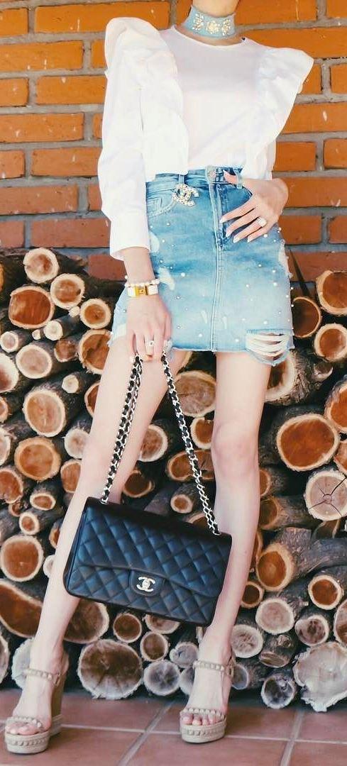 perfect summer outfit; top + denim skirt