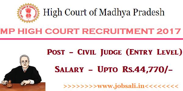 high court vacancy 2017, MP Govt jobs 2017, MP High Court Civil Judge Vacancy 2017