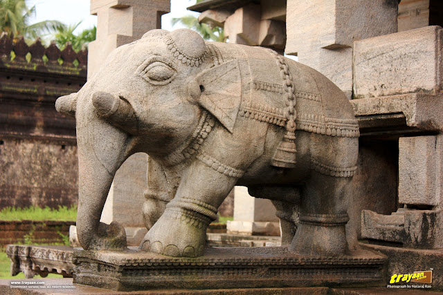 Elephant balustrade of Thousand Pillared Jain Temple in Moodabidri, near Mangalore, Karnataka, India