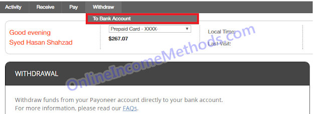 How To Withdraw Money From Payoneer To Bank Account