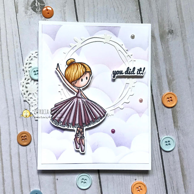 Handmade card using Ballerina clear stamp by Kinda Cute by Patricia Alvarez