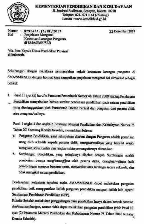 Surat Ketentuan Pungutan di SMA, SMK, SLB
