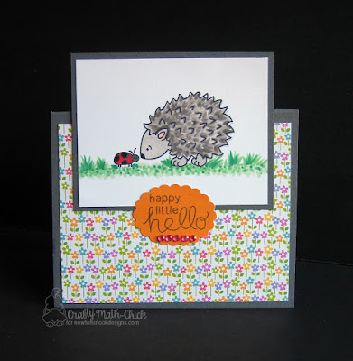 Happy Hello Hedgehog card by Crafty Math Chick | Hedgehog Hollow stamp set by Newton's Nook Designs