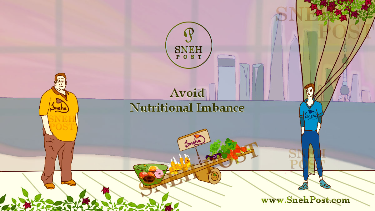 Use of nutritional phenomena in avoiding nutritional imbalance: Illustration of a over-nutrition man and under-nutrition boy standing around a balance with healthy food like green vegetables and fast food in both of its sides in a room with huge window showing the sea beach water and huge tall buildings of the city in background